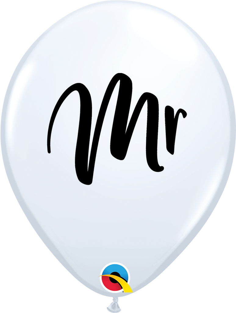PRINTED LATEX BALLOON 28CM - WHITE MR IN BLACK INK