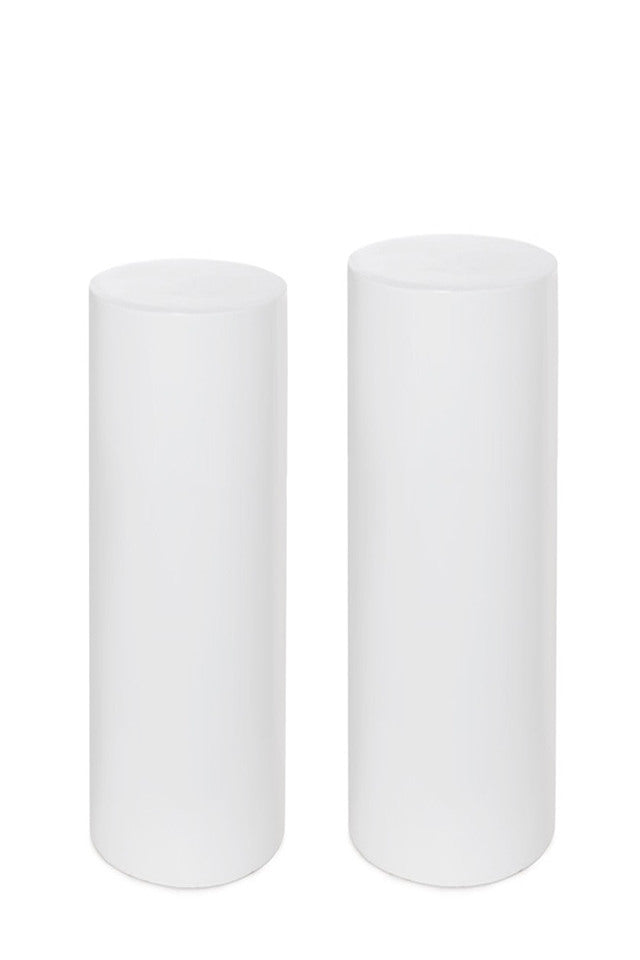 Round White Acrylic Plinth - Set of 2