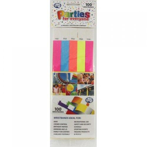 WRISTBANDS TYVEK ASSORTED COLOURS PK100