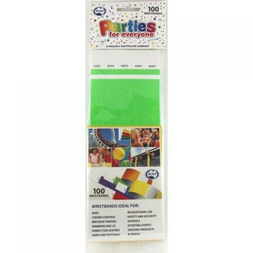WRISTBANDS TYVEK LIME GREEN PK100