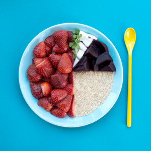 An image breakdown of ohbabyco.com Strawberry, quinoa, beetroot, coconut oil, basil baby food recipe