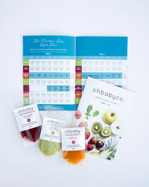 An image of stage 1, 4 month baby food chart and weaning meal plan for developed in conjunction with clinical dietician
