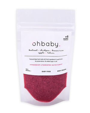 An image of Stage 2 Healthy Baby Food: Beetroot, Chickpea, Brown Rice, Apple, Tahini