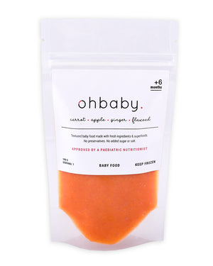 An image of Healthy 4 Months Baby Food: Carrot, Apple, Ginger, Flaxseed