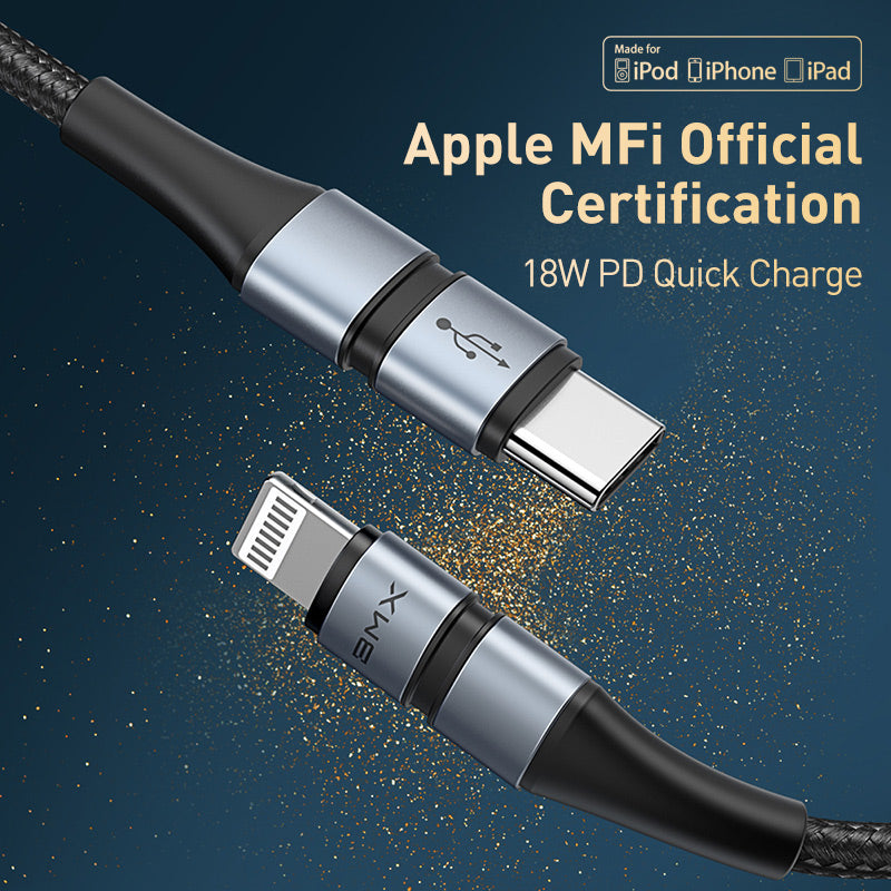 BASEUS  BMX DOUBLE-DESK MFI CERTIFIED CABLE TYPE.C TO LIGHTNING PD 18W 1.2M,Type C To IPhone , USB C To IPhone , Type C To Lightning, USB C To Lightning, IPhone 12 Cable, ,Cable For IPhone 12,IPHONE 12 CABLE ,PD CABLE