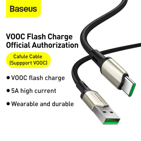 BASEUS CAFULE CABLE (SUPPPORT VOOC) USB FOR TYPE.C 1M