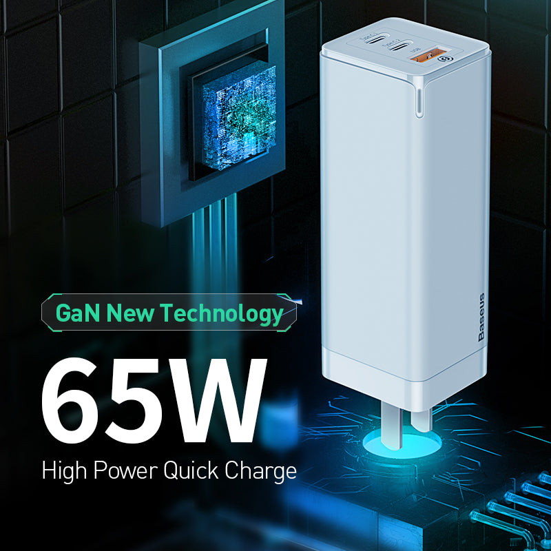 BASEUS GAN MINI QUICK TRAVEL CHARGER C+C+A 65W, Travel Charger, Charger , USB Phone Charger , Mobile Phone Charger , Smart Phone Charger , Andriod Phone Charger , Muti port usb charger , quick charger , fast charger  ,65W charger , Portable Charger