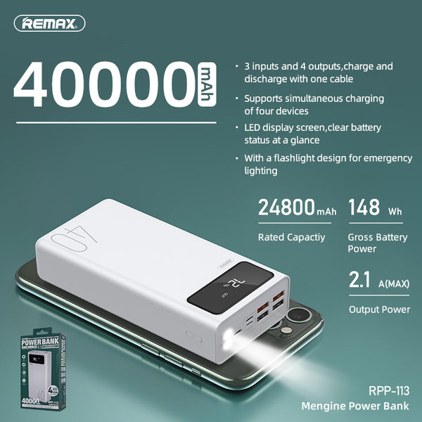 REMAX-RPP-113 40000MAH MENGINE SERIES POWER BANK, PowerBank 40000mAh,40000mAhpowerbank ,  Power Bank 40000mAh ,Safest Power Bank , Best Power Bank for iPhone , Android , Xiaomi , Samsung , Huawei , All in one