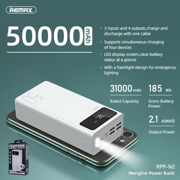 REMAX-RPP-162 50000MAH MENGINE SERIES POWER BANK,PowerBank 50000mAh,50000mAhpowerbank ,  Power Bank 50000mAh ,Safest Power Bank , Best Power Bank for iPhone , Android , Xiaomi , Samsung , Huawei , All in one
