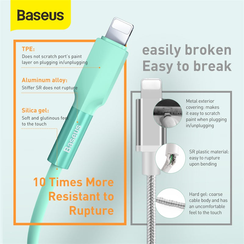 BASEUS SILICA GEL CABLE USB FOR IPhone 1M