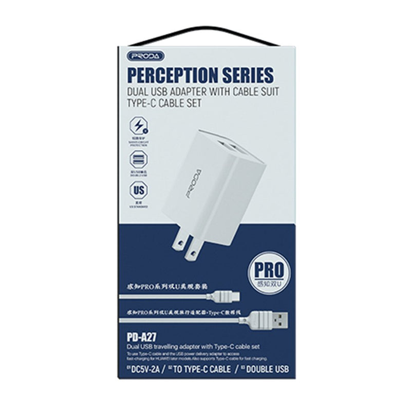 2USB CHARGER PD-A27 (micro, type c & iphone) PERCEPTION PRO SERIES US STANDARD