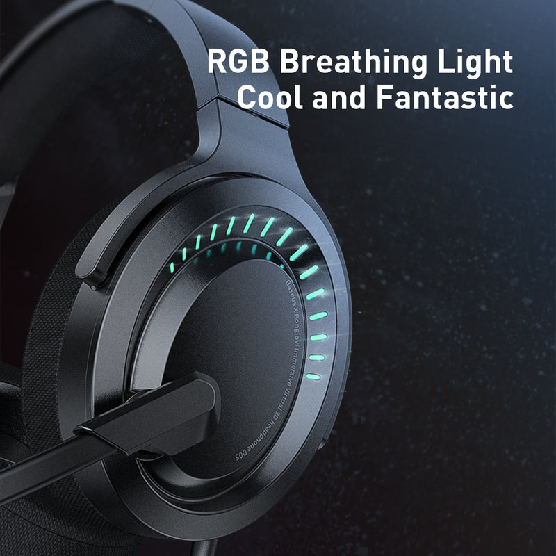 Baseus D05 3D Stereo Gaming Headphone USB/Type-C Colorful LED Light Wired Game Headsets with HD Microphone For Computer PC Gamer,Type C Gaming Headphone, USB C Gaming headset, Type C Wired Headset for PUBG Gamer , Best Type C Gaming Headphone for PUBG