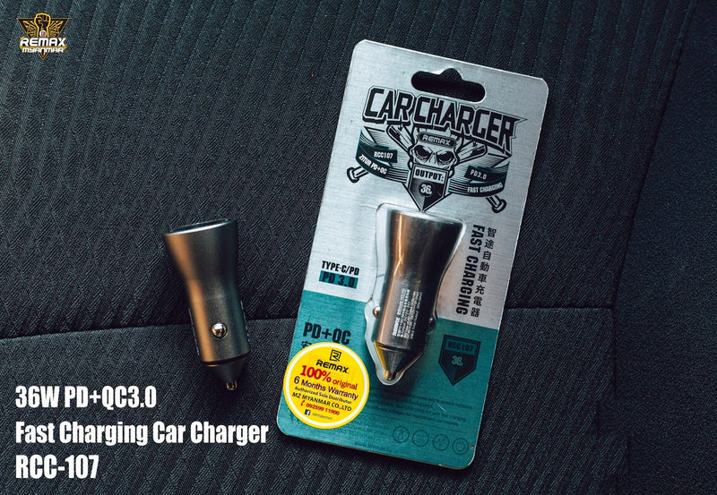 REMAX--- RCC107 FAST CHARGING PD+QC3.0 TYPE-C CAR CHARGER,Car Charger,Car Charger Adapter,USB Car Charger,Fast Car Charger,Car charger for Micro,iPhone,Type C ,Lightning Car Charger,Android Car Charger,Cigarette Lighter iPhone Car Charger