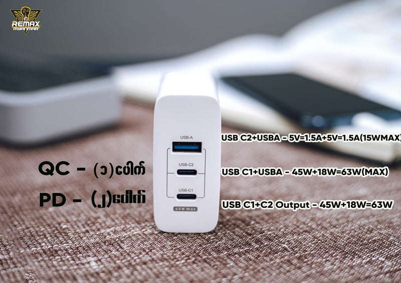 REMAX--- RP-U59 FULLSPEED SERIES GaN PD+QC FAST CHARGING ADAPTER (65W)(3.0A)(2 TYPE-C,1 USB)