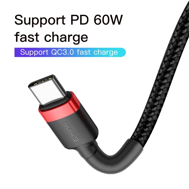 BASEUS CAFULE TYPE.C PD 2.0 60W FLASH CHARGING DATA LINE (20V 3A)1M,C TO C  Data Cable ,Type C to Type C Fast Charging Cable , USB C Cable , PD Cable , PD Port , C to C Cable Samsung , Xiaomi , Apple , Huawei