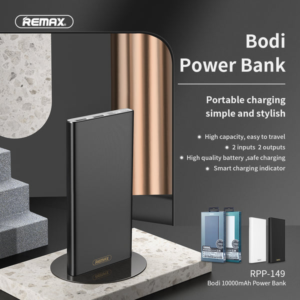 REMAX-RPP-149 10000MAH BODI SERIES POWER BANK, PowerBank 10000mAh,10000mAhpowerbank ,  Power Bank 10000mAh ,Safest Power Bank , Best Power Bank for iPhone , Android , Xiaomi , Samsung , Huawei , All in one