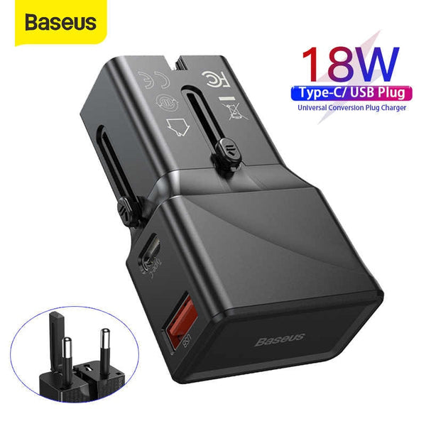 BASEUS UNIVERSAL CONVERSION PLUG PPS CHARGER C+U 18W (YOUTH EDITION)