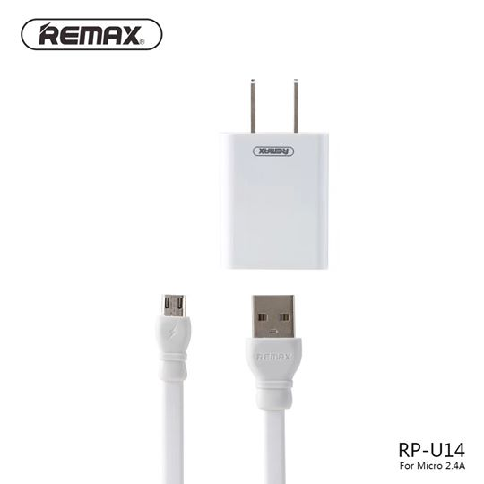 REMAX-(MICRO) RP-U14 TRAVELLER SERIES 2.4A CHARGER WITH 2.4 DATA CABLE
