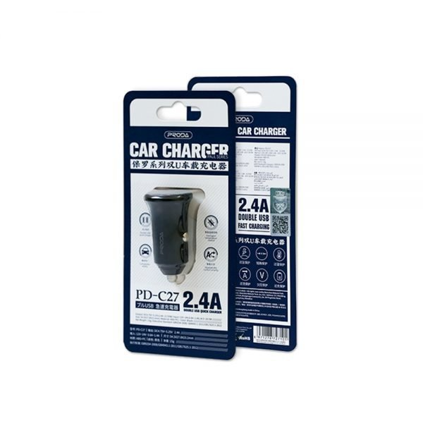 CAR CHARGER PD-C27 PAUL SERIES DUAL USB (2.4A)
