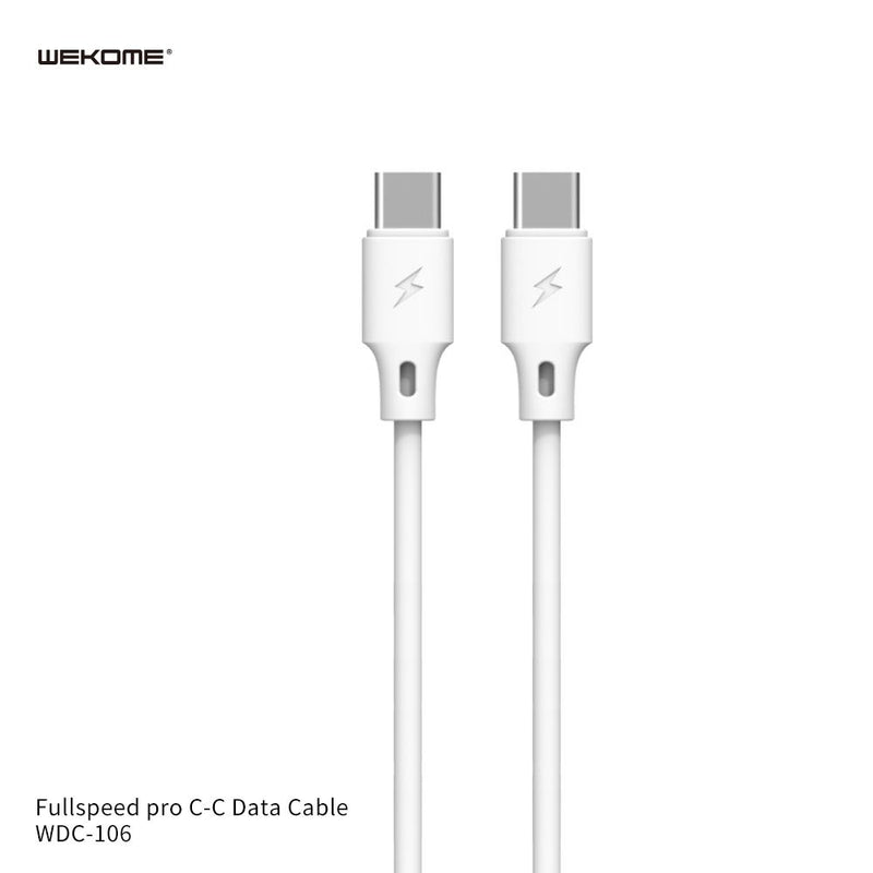 WK FULLSPEED PRO C TO C  DATA CABLE ( WDC-106A ) - Type C to Type C Fast Charging Cable , USB C Cable , PD Cable , PD Port , C to C Cable Samsung , Xiaomi , Apple ,Huawei