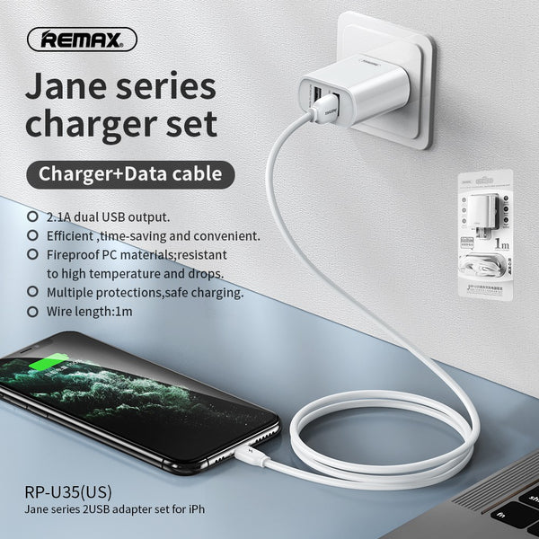 REMAX- RP-U35(IPH) JANE SERIES 2.1A DUAL USB CHARGER SET RP-U35I,USB Phone Charger,Smart Phone Charger,Andriod Phone Charger , Muti port usb charger,quick charger,fast charger,the best usb phone charger,wall charger,Portable Charger