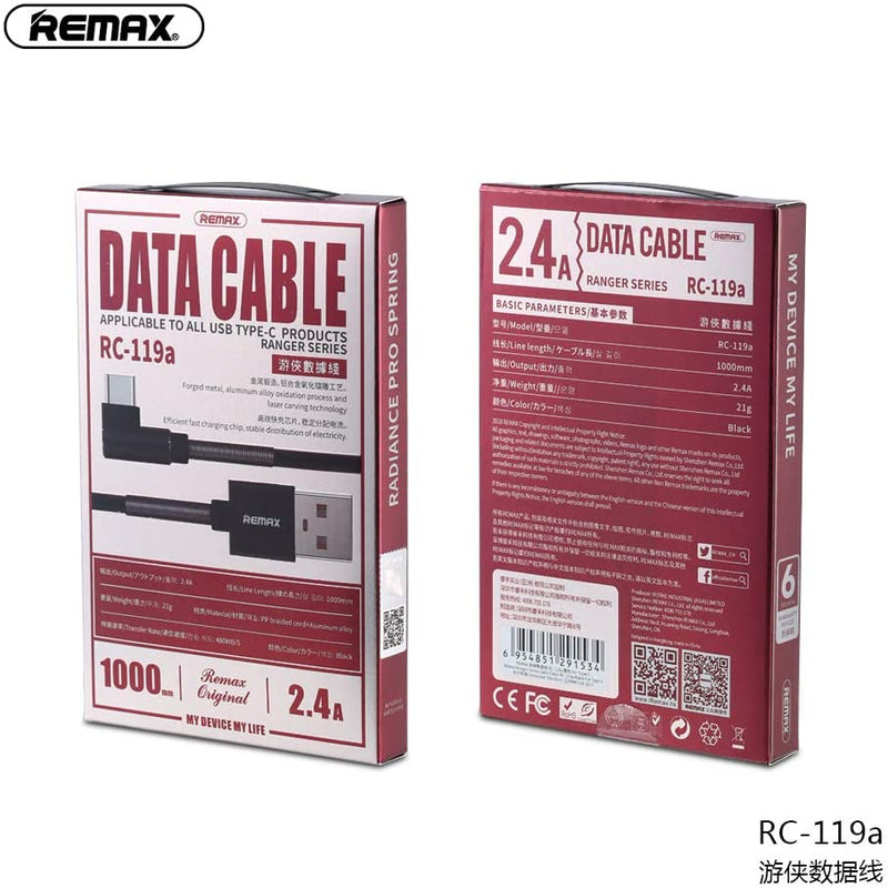REMAX-RC-119A(TYPE-C)RANGER SERIES 2.4A DATA CABLE FOR TYPE-C(1000MM),Cable,Type C Cable for Andorid,USB Type C Cable,USB C Charger Cable,Type C Data Cable,Type C Charger Cable,Fast Charge Type C Cable,Quick Charge Type C Cable,the best USB C Cable