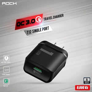 T12 Single Port QC 3.0 Travel Charger