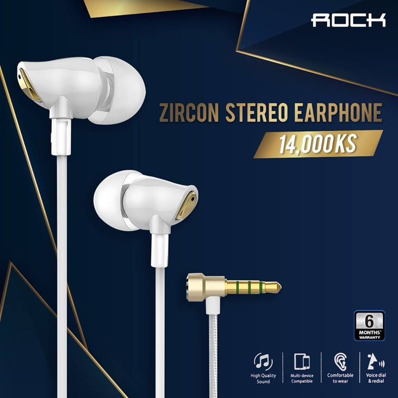 ROCK Zircon Stereo Earphone,Earphone , Wired Earphone , Best wired earphone , Hifi Stereo Sound Wired Headset , sport wired earphone , 3.5mm jack wired earphone , 3.5mm headset for mobile phone ,3.5mm jack wired earphone , ကြိုးနားကြပ် , နားကြပ်