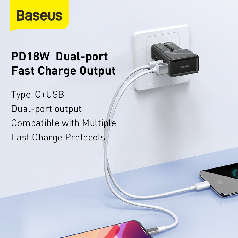 BASEUS UNIVERSAL CONVERSION PLUG PPS CHARGER C+U 18W Travel Adapter , Travel Charger , Smart Travel Adapter , World Travel Adapter , Universal Travel Adapter , Travel Smart All in one adapter , Travel Charger for mobile , Tablet , iPad , Laptop