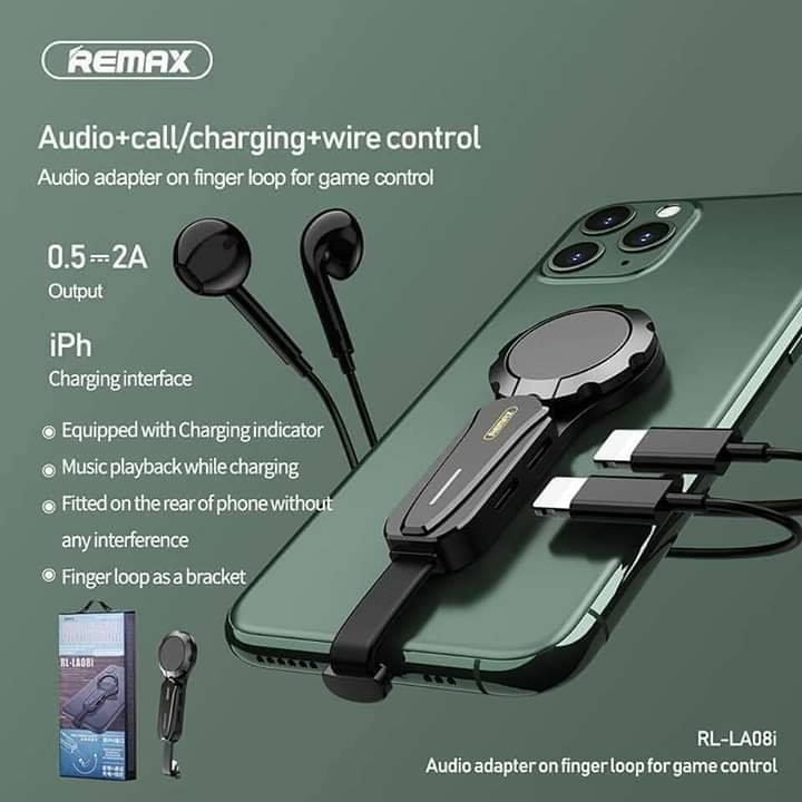 REMAX --RL-LA08I DUAL LIGHTNING AUDIO ADAPTER ON FINGER LOOP FOR GAME CONTROL RL-LA08I,lightning to lightning adapter,,iPhone  lightning adapter,Audio Connector for iPhone 7/8/8 plus/X/XS/XR/11/11 Pro /11 Pro Max /12/12 Pro/12 Pro Max
