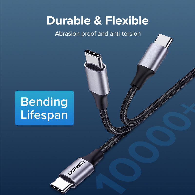 UGREEN OFFICIAL USB 2.0 TYPE.C TO TYPE.C CABLE 3A 1.5M, C TO C  Data Cable ,Type C to Type C Fast Charging Cable , USB C Cable , PD Cable , PD Port , C to C Cable Samsung , Xiaomi , Apple , Huawei