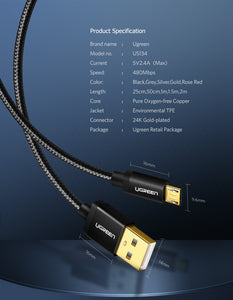 UGREEN OFFICIAL MICRO USB 2.0CABLE 1M (GOLD PLATE)