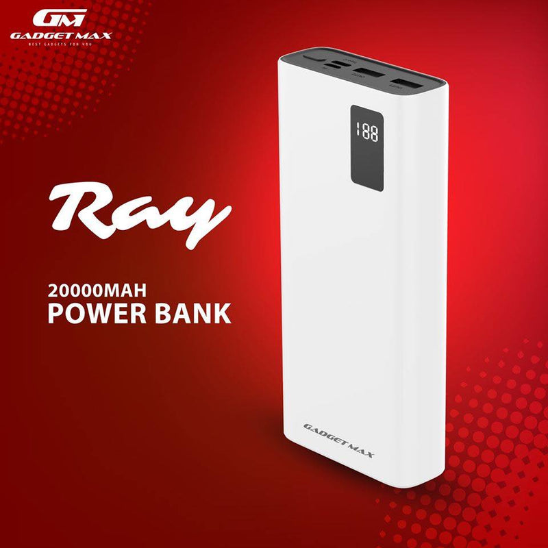 GADGET MAX--20000mAh RAY  POWER BANK 20000mAh (5V/2.1A)(2USB), 20000 Mah Power Bank , Power Bank 20000 Mah, 20000 Mah Powerbank, Powerbank 20000mah, Power Bank, Power Bank , Best Power Bank For iPhone , Samsung , Mi, Android ,All in one