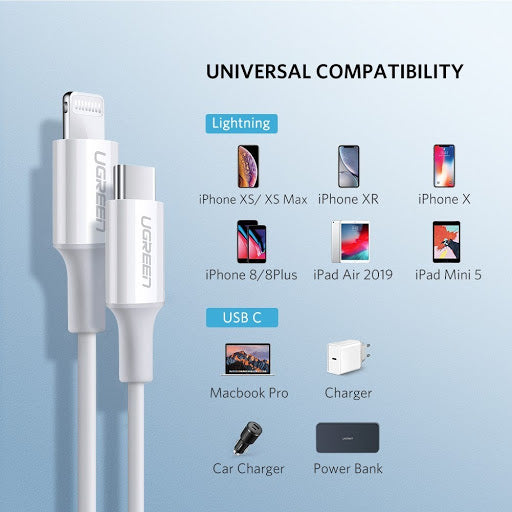 UGREEN - USB-C TO LIGHTING M/M CABLE RUBBER SHELL 1M ,Type C To IPhone , USB C To IPhone , Type C To Lightning, USB C To Lightning, IPhone 12 Cable, Cable For IPhone 12,Cable For IPhone 12,Cable For IPhone 12,,IPHONE 12 CABLE,PD CALE