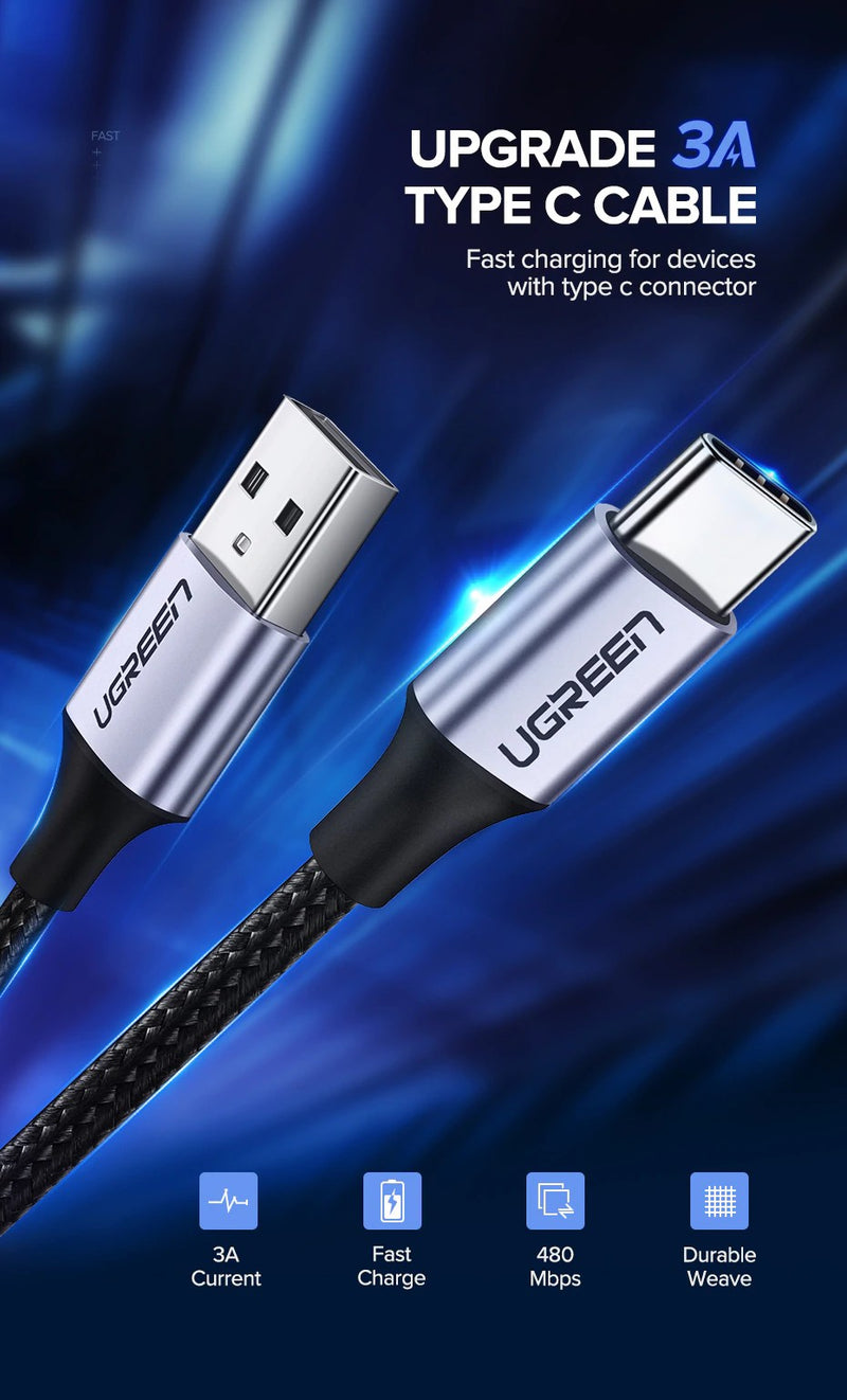 UGREEN OFFICIAL USB 2.0A TO TYPE.C CABLE 2.0 1.5M (NICKEL PLATING)