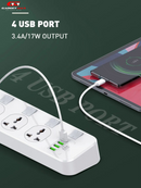 GADGET MAX-GM-S4 SC4408 (4USB) POWER SOCKET SMART SERIES 2500W (3M),Power Socket , Extension Power Socket , Muti Plug Electrical Extension , 2 Pins extension socket , Extension, Portable travel adapter, Fast Charging socket , ပလပ်ခုံ