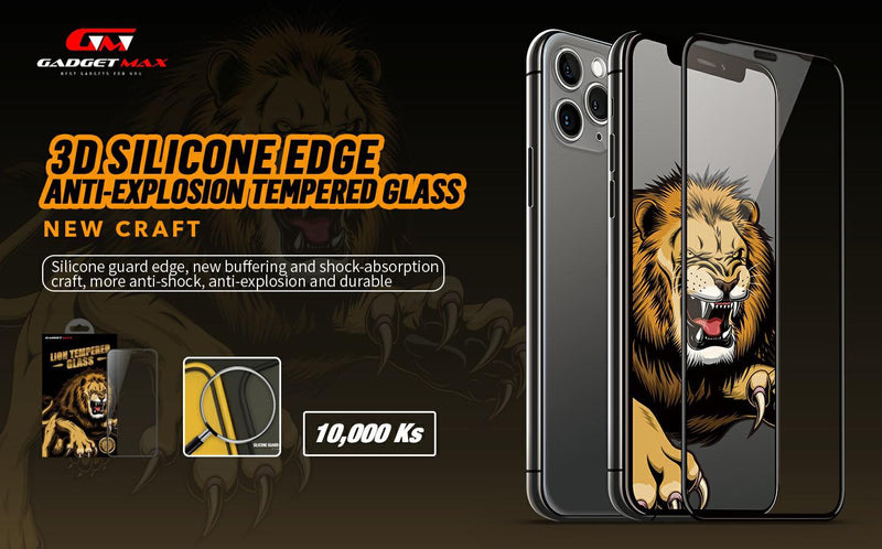 GADGET MAX-(5.8 INCH) LION 3D SILICONS ANTI-BROKEN GLASS IPH XS/11 PRO (5.8 INC)