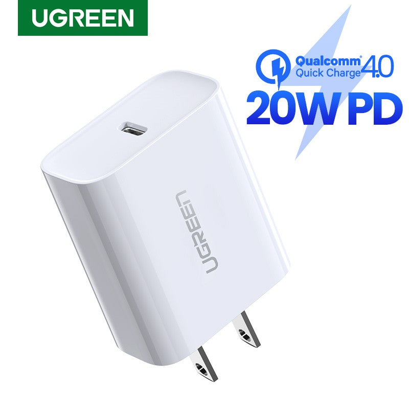 IPhone 12 Charger, UGREEN 20W PD FAST CHARGER ONLY US, 20W PD, Fast Charger, Quick Charger ,USB-C Charger for iPhone 12/12 Mini/12 Pro/12 Pro Max/ iphone 11/iphone X/XS/XR/Fast Charging/Wall Charger/Power Delivery/Power Adapter/type c to lightning