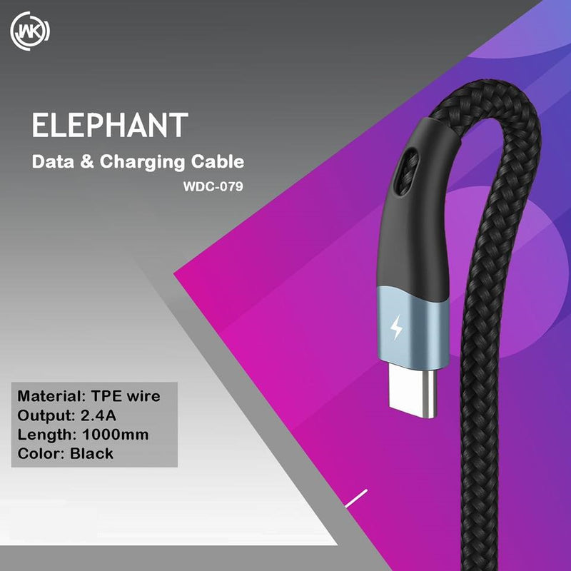 WK WDC-079 ELEPHANT DATA CABLE   2.4A  (1M) ,Cable , Micro Cable , Micro Charging Cable , Micro USB Cable , Android charging cable , USB Charging Cable , Data cable for Samsung , Huawei , Xiaomi , Fast Charging Cable , Quick Charge Cable