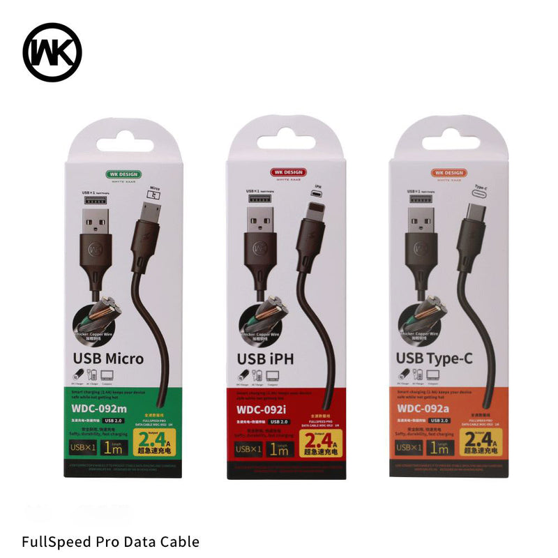 WK WDC-092I  IPH FULL SPEED PRO DATA CABLE FOR LIGHTING   2.4A  (1M) ,  Cable , Lightning Cable , iPhone Data Cable , iPhone Charging Cable , iPhone Lightning Cable , Unbreakable iPhone charging cable , Apple iPhone Cable , iPhone USB Cable