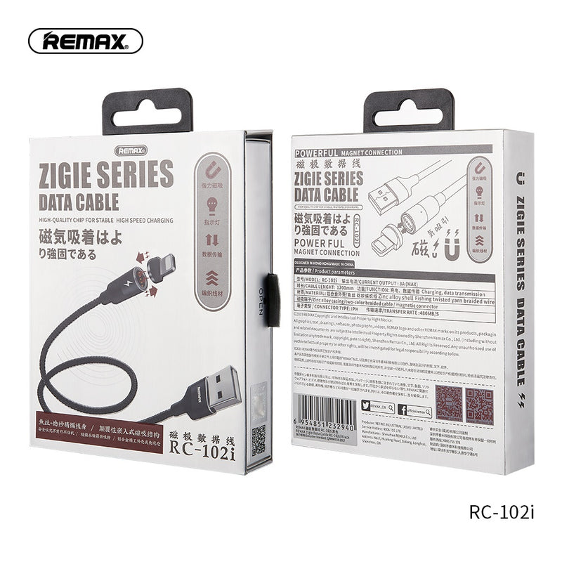 REMAX-RC-102I 3.0A ZIGIE SERIES MAGNET CONNECTION DATA CABLE,Lightning Cable,iPhone Data Cable,iPhone Charging Cable,iPhone Lightning charging cable ,Best lightning cable for iPhone,Apple iPhone Cable,iPhone USB Cable,Apple Lightning to USB Cable