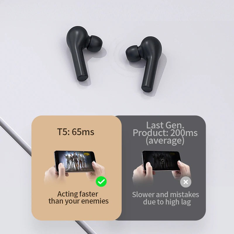 QCY T5S TWS Gaming Bluetooth Earphone TWS Bluetooth , TWS Earbuds , Wireless Earbuds , TWS Earphones , TWS i12 , Best Wireless Earbuds for iPhone , Android , Budget wireless earbuds