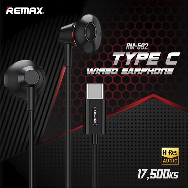 REMAX RM-592 Type-C Metal Earphone ,Type C Earphone , Type C Wired Earphone ,Type C Headphone ,Type C Stereo Sound Wired Headset ,USB C  headphone , Type C Earphone For Samsung,Huawei ,Xiaomi ,Type C ကြိုးနားကြပ် ,Type C နားကြပ်