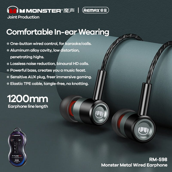 REMAX--RM-598 3.5MM EARPHONE (WIRED) ( MONSTER METAL ) FOR MUSIC & CALL