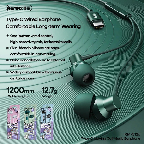 REMAX--RM-512A TYPE-C EARPHONE (WIRED) ( METAL ) FOR MUSIC & CALL (1200MM)