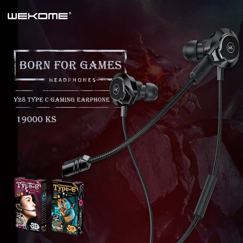 WK Y28 TYPE-C EARPHONE (WIRED) FOR GAMES WITH MICROPHONE