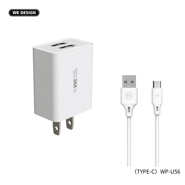 WK WP-U56A DUAL USB SET CHARGER FOR TYPE-C ,Charger , USB Phone Charger , Mobile Phone Charger , Smart Phone Charger , Andriod Phone Charger , Muti port usb charger , quick charger , fast charger , cell phone charger , wall charger , Portable Charger