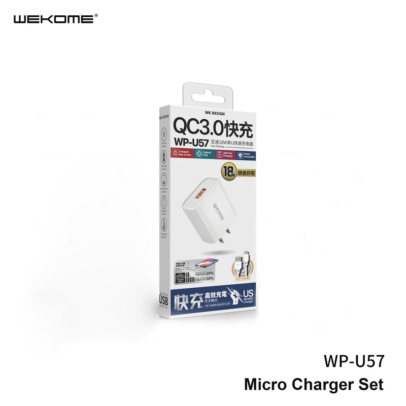 WK WP-U57 (TYPE-C) MAXSPEED FAST CHARGER SET WITH TYPE-C CABLE ,Charger , USB Phone Charger , Mobile Phone Charger , Smart Phone Charger , Andriod Phone Charger , Muti port usb charger , quick charger , cell phone charger , wall charger , Portable Charger