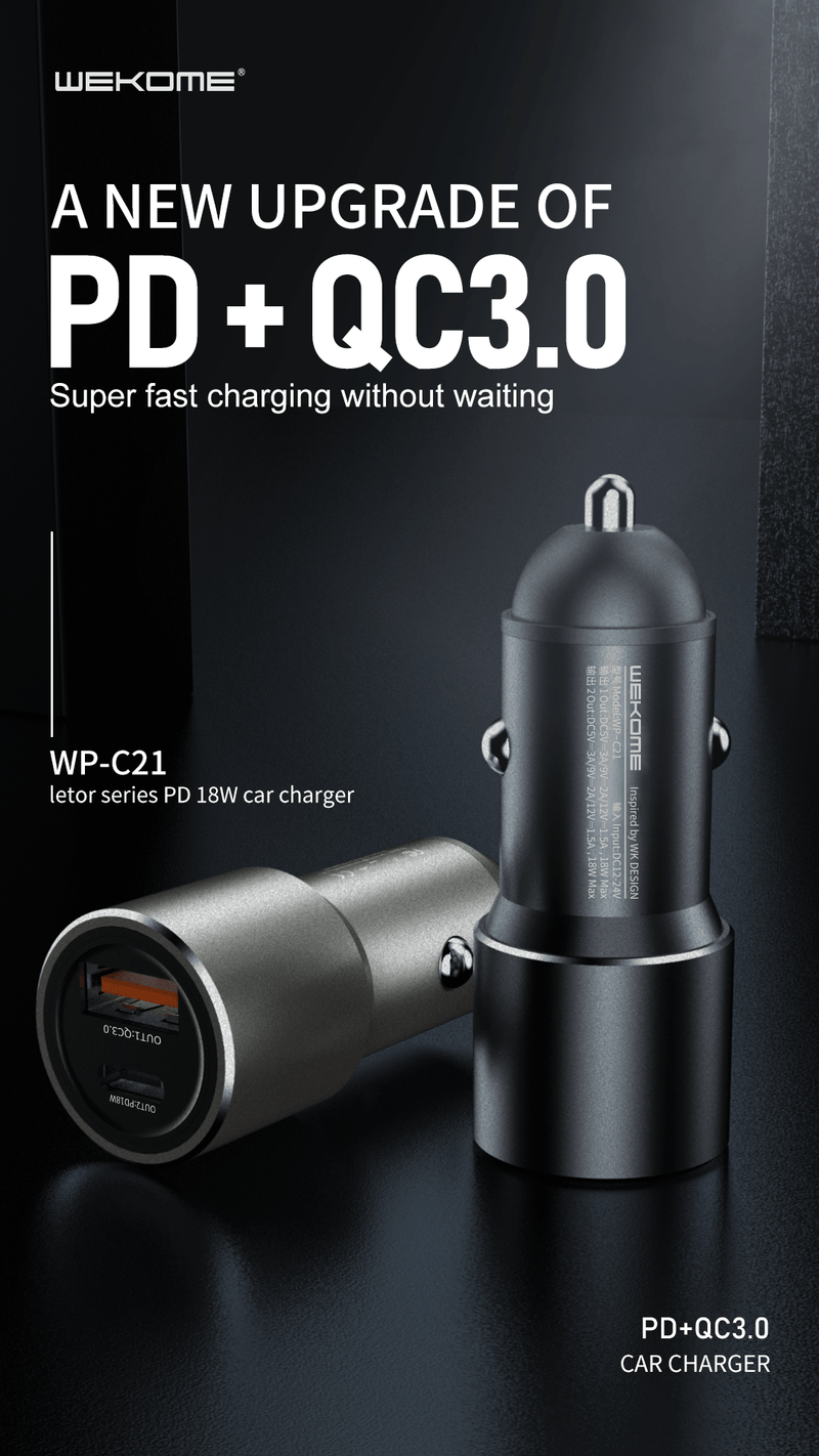 WK LETOR PD 18W CAR CHARGER (WP-C21) ,Car Charger , Car Charger Adapter , cell phone car charger , USB Car Charger , Fast Car Charger , Car charger for Micro , iPhone , Type C , Lightning ,Android Car Charger , Cigarette Lighter iPhone Car Charger