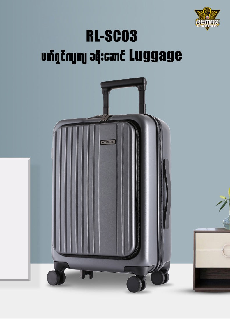 REMAX LIFE-RL-SCO3 TRAVEL SERIES 20 INCH FRONT OPEN COVER CHASSIS,Aluminum Frame Suitcas,Travel Luggage Suitcase,4 Wheel Luggage,Extra Large Hard Suitcase,Carry-On Suitcase,Swiss Gear Luggage,Backpack Suitcase,Primark Luggage Suitcases,Trolley Suitcase